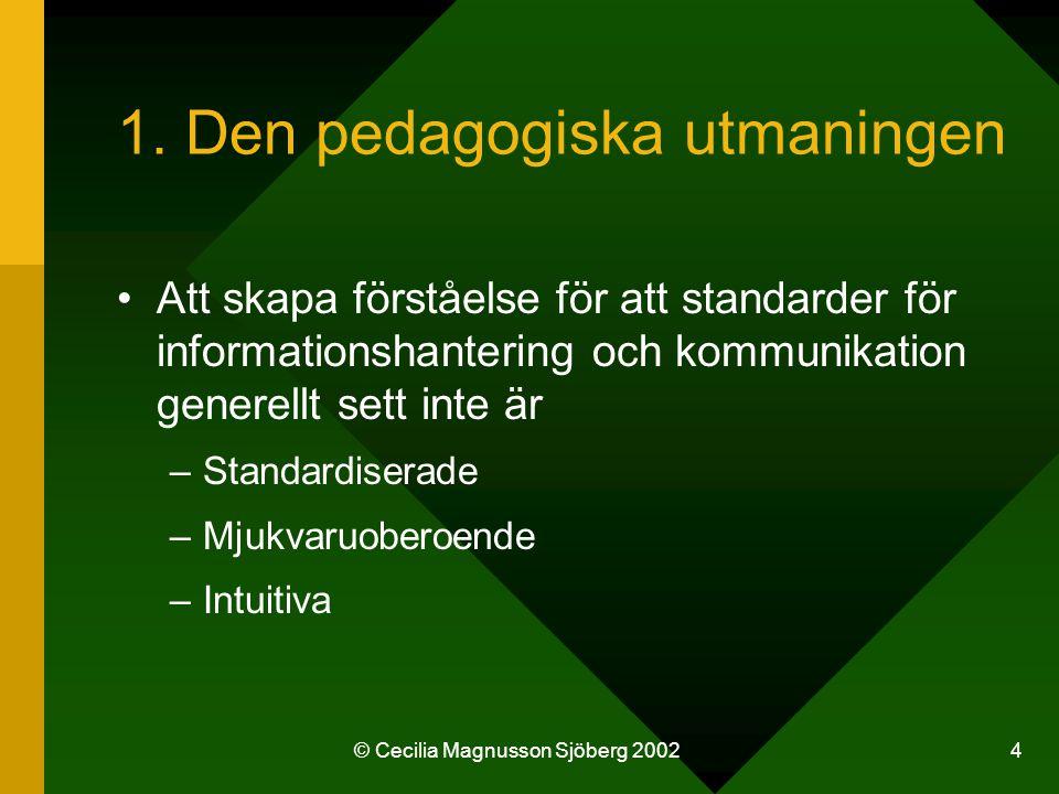 © Cecilia Magnusson Sjöberg 2002 5 …utan standarder för informationshantering (och kommunikation) –Är att betrakta som en metod/ansats för systemutveckling och systemförvaltning –Kan fungera som en hävstång för mjuka infrastrukturer –Skapar förutsättningar för tillit i informations- samhället