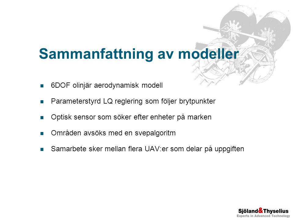 Sammanfattning av modeller 6DOF olinjär aerodynamisk modell Parameterstyrd LQ reglering som följer brytpunkter Optisk sensor som söker efter enheter på marken Områden avsöks med en svepalgoritm Samarbete sker mellan flera UAV:er som delar på uppgiften