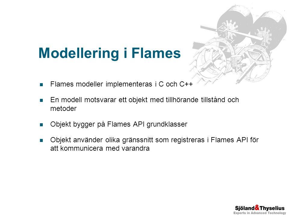 Modellering i Flames Flames modeller implementeras i C och C++ En modell motsvarar ett objekt med tillhörande tillstånd och metoder Objekt bygger på Flames API grundklasser Objekt använder olika gränssnitt som registreras i Flames API för att kommunicera med varandra