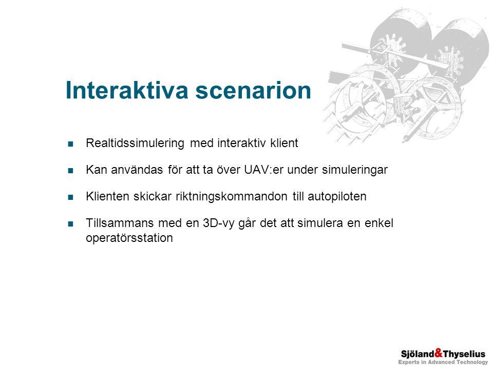 Interaktiva scenarion Realtidssimulering med interaktiv klient Kan användas för att ta över UAV:er under simuleringar Klienten skickar riktningskommandon till autopiloten Tillsammans med en 3D-vy går det att simulera en enkel operatörsstation