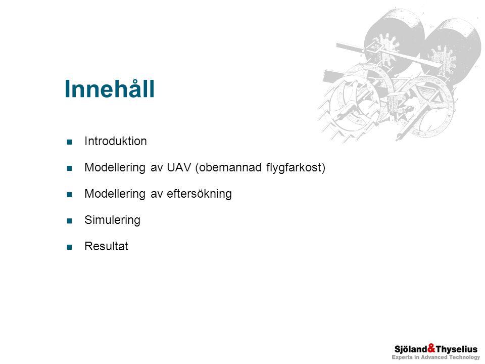 Innehåll Introduktion Modellering av UAV (obemannad flygfarkost) Modellering av eftersökning Simulering Resultat