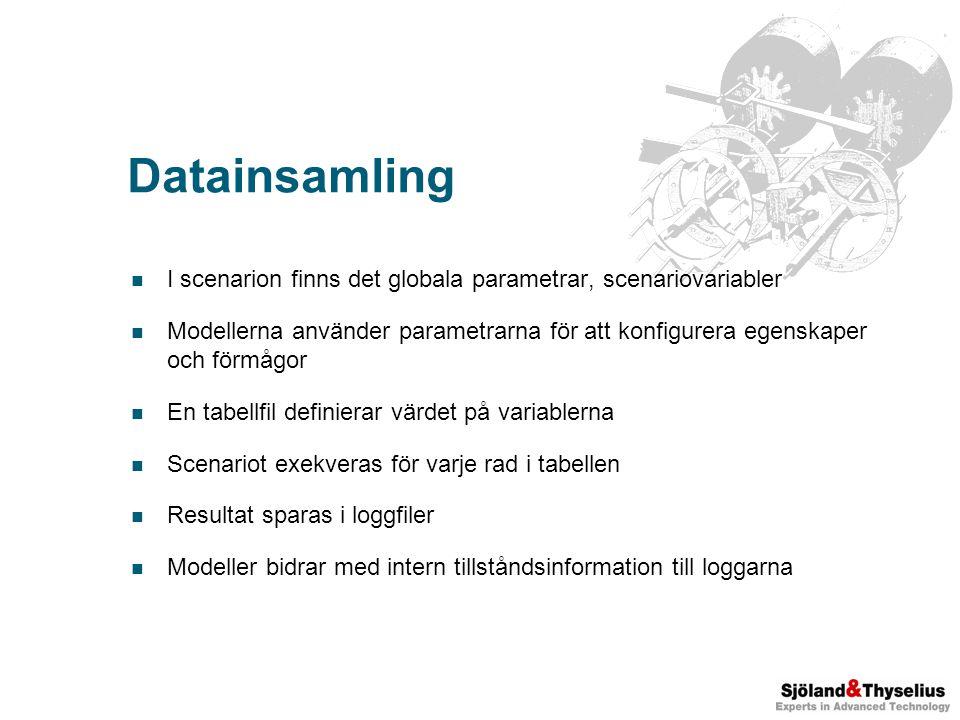 Datainsamling I scenarion finns det globala parametrar, scenariovariabler Modellerna använder parametrarna för att konfigurera egenskaper och förmågor En tabellfil definierar värdet på variablerna Scenariot exekveras för varje rad i tabellen Resultat sparas i loggfiler Modeller bidrar med intern tillståndsinformation till loggarna