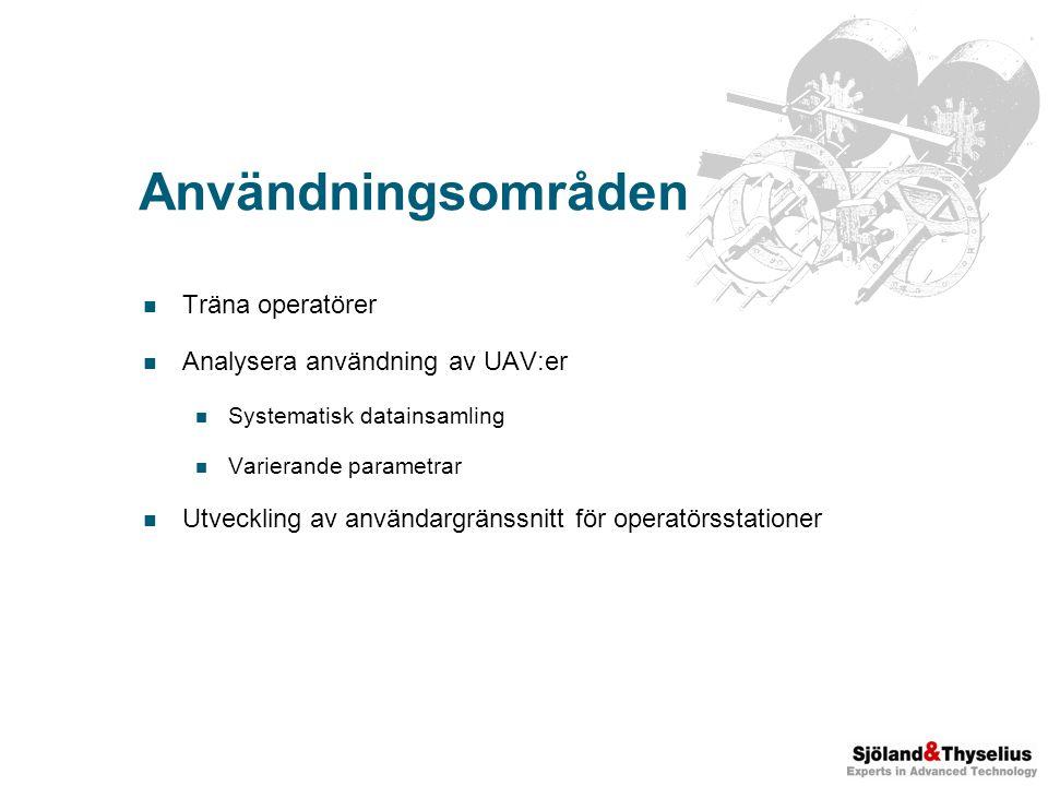 Användningsområden Träna operatörer Analysera användning av UAV:er Systematisk datainsamling Varierande parametrar Utveckling av användargränssnitt för operatörsstationer