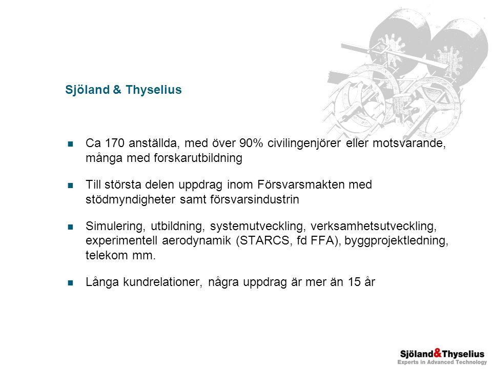 Sjöland & Thyselius Ca 170 anställda, med över 90% civilingenjörer eller motsvarande, många med forskarutbildning Till största delen uppdrag inom Försvarsmakten med stödmyndigheter samt försvarsindustrin Simulering, utbildning, systemutveckling, verksamhetsutveckling, experimentell aerodynamik (STARCS, fd FFA), byggprojektledning, telekom mm.
