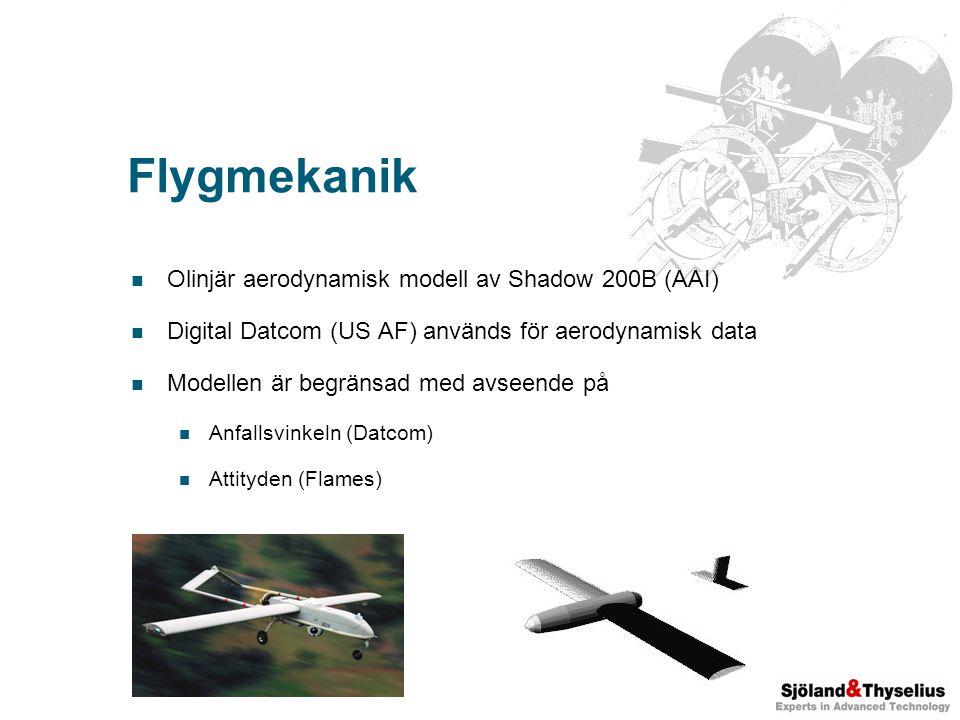 Flygmekanik Olinjär aerodynamisk modell av Shadow 200B (AAI) Digital Datcom (US AF) används för aerodynamisk data Modellen är begränsad med avseende på Anfallsvinkeln (Datcom) Attityden (Flames)