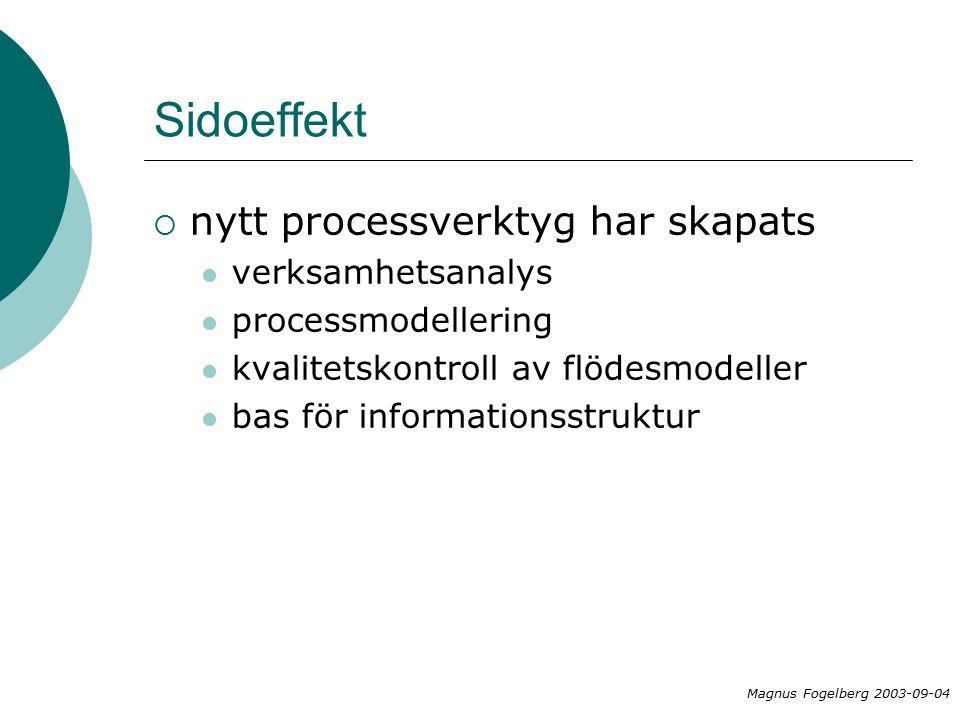 Sidoeffekt  nytt processverktyg har skapats verksamhetsanalys processmodellering kvalitetskontroll av flödesmodeller bas för informationsstruktur Magnus Fogelberg 2003-09-04