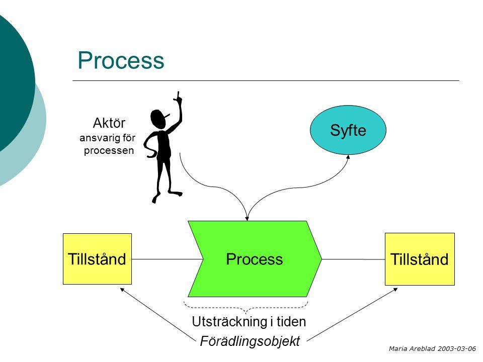 Process Tillstånd Aktör ansvarig för processen Tillstånd Utsträckning i tiden Maria Areblad 2003-03-06 Syfte Förädlingsobjekt