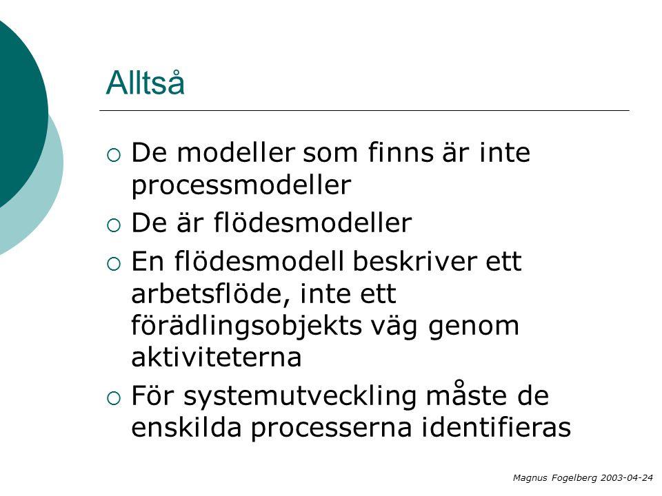 Alltså  De modeller som finns är inte processmodeller  De är flödesmodeller  En flödesmodell beskriver ett arbetsflöde, inte ett förädlingsobjekts väg genom aktiviteterna  För systemutveckling måste de enskilda processerna identifieras Magnus Fogelberg 2003-04-24