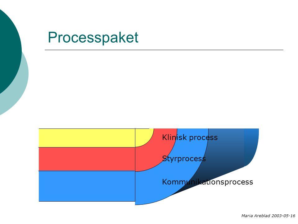 Processpaket Maria Areblad 2003-05-16 Kommunikationsprocess Styrprocess Klinisk process