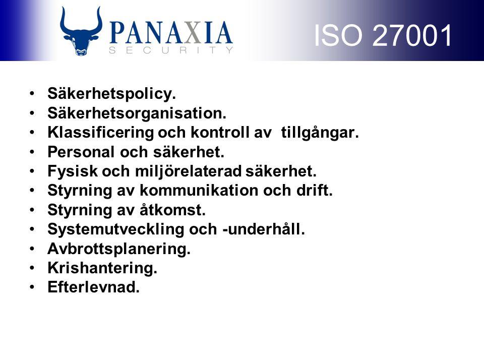 ISO 27001 Säkerhetspolicy. Säkerhetsorganisation.