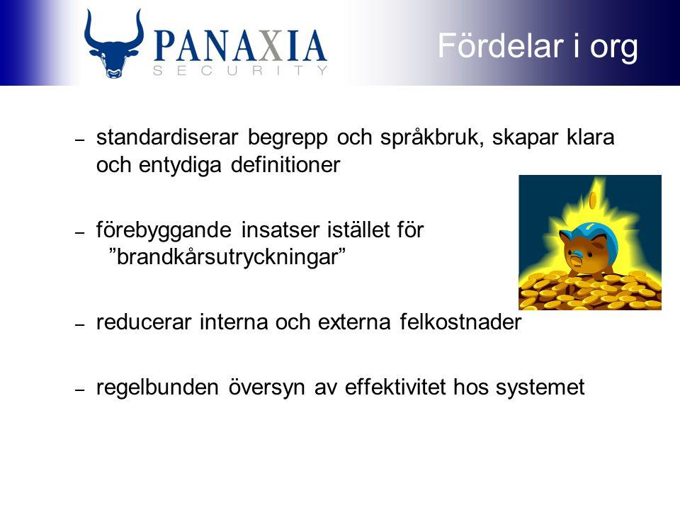 Fördelar i org – standardiserar begrepp och språkbruk, skapar klara och entydiga definitioner – förebyggande insatser istället för brandkårsutryckningar – reducerar interna och externa felkostnader – regelbunden översyn av effektivitet hos systemet