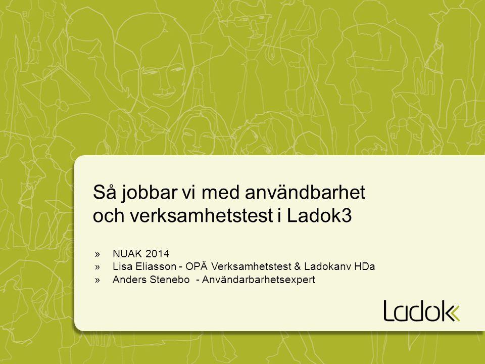 Så jobbar vi med användbarhet och verksamhetstest i Ladok3 »NUAK 2014 »Lisa Eliasson - OPÄ Verksamhetstest & Ladokanv HDa »Anders Stenebo - Användarbarhetsexpert