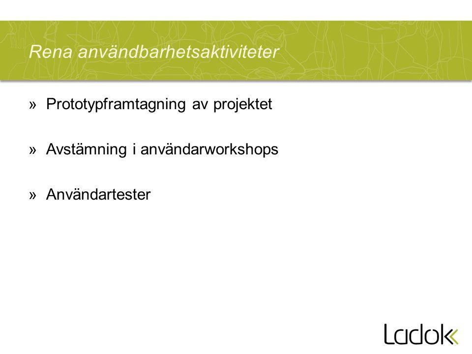 Rena användbarhetsaktiviteter »Prototypframtagning av projektet »Avstämning i användarworkshops »Användartester