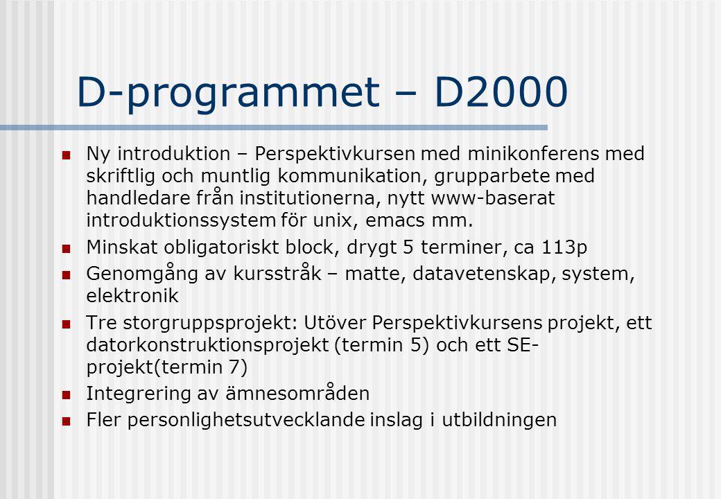 D-programmet – D2000 Ny introduktion – Perspektivkursen med minikonferens med skriftlig och muntlig kommunikation, grupparbete med handledare från institutionerna, nytt www-baserat introduktionssystem för unix, emacs mm.