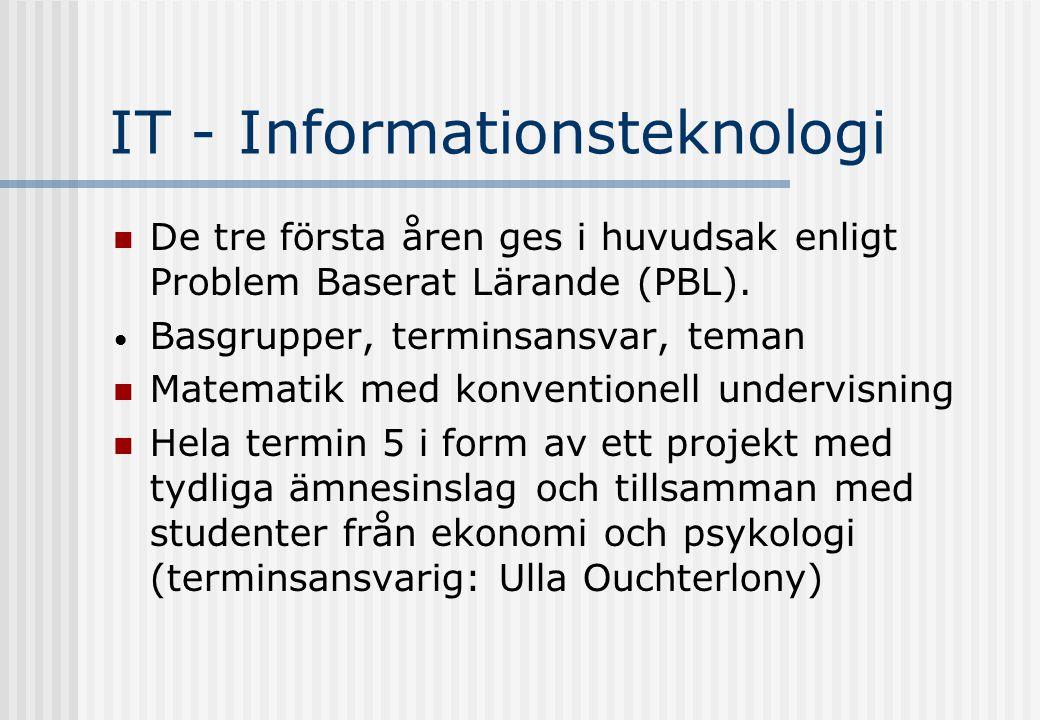 IT - Informationsteknologi De tre första åren ges i huvudsak enligt Problem Baserat Lärande (PBL).