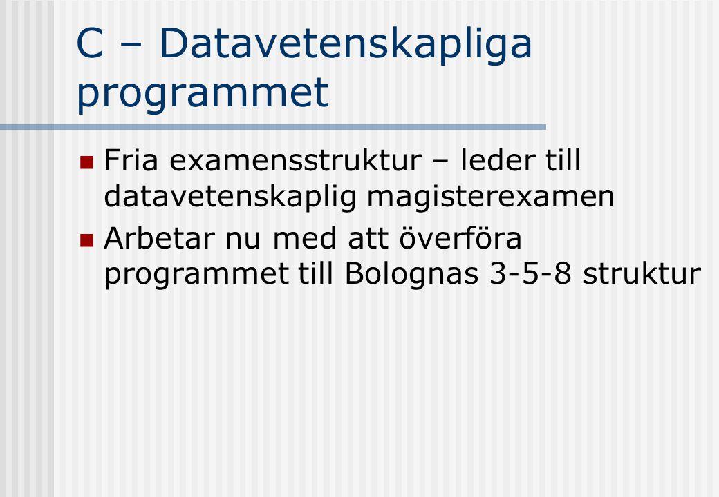 C – Datavetenskapliga programmet Fria examensstruktur – leder till datavetenskaplig magisterexamen Arbetar nu med att överföra programmet till Bolognas 3-5-8 struktur