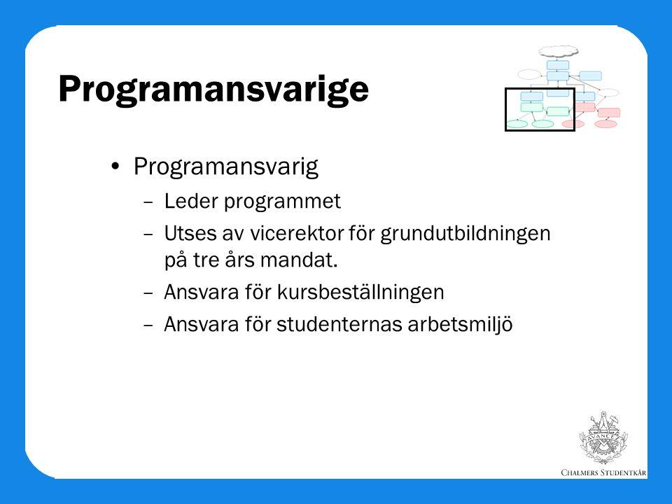 Programansvarige Programansvarig –Leder programmet –Utses av vicerektor för grundutbildningen på tre års mandat. –Ansvara för kursbeställningen –Ansva