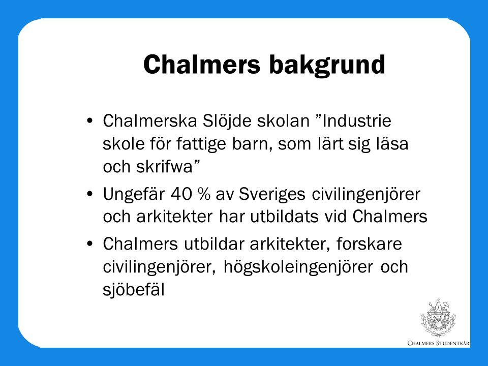 Chalmers bakgrund Chalmerska Slöjde skolan Industrie skole för fattige barn, som lärt sig läsa och skrifwa Ungefär 40 % av Sveriges civilingenjörer och arkitekter har utbildats vid Chalmers Chalmers utbildar arkitekter, forskare civilingenjörer, högskoleingenjörer och sjöbefäl