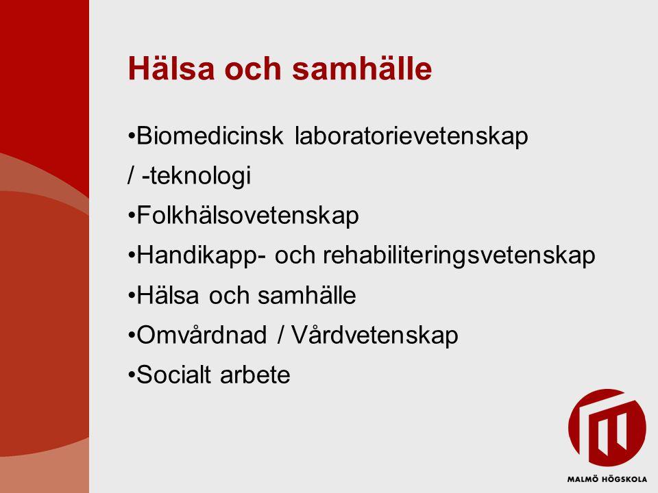 Hälsa och samhälle Biomedicinsk laboratorievetenskap / -teknologi Folkhälsovetenskap Handikapp- och rehabiliteringsvetenskap Hälsa och samhälle Omvårdnad / Vårdvetenskap Socialt arbete
