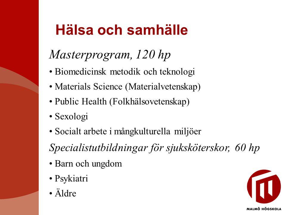 Hälsa och samhälle Masterprogram, 120 hp Biomedicinsk metodik och teknologi Materials Science (Materialvetenskap) Public Health (Folkhälsovetenskap) Sexologi Socialt arbete i mångkulturella miljöer Specialistutbildningar för sjuksköterskor, 60 hp Barn och ungdom Psykiatri Äldre