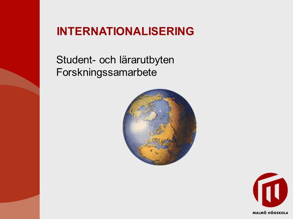 INTERNATIONALISERING Student- och lärarutbyten Forskningssamarbete