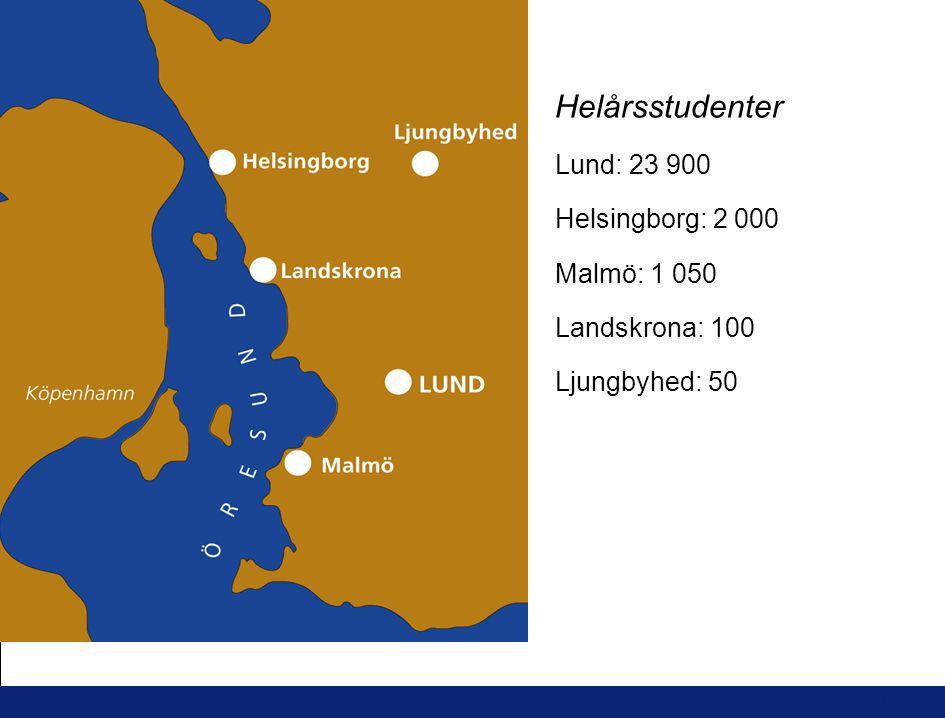 11 L U N D S U N I V E R S I T E T Helårsstudenter Lund: 23 900 Helsingborg: 2 000 Malmö: 1 050 Landskrona: 100 Ljungbyhed: 50