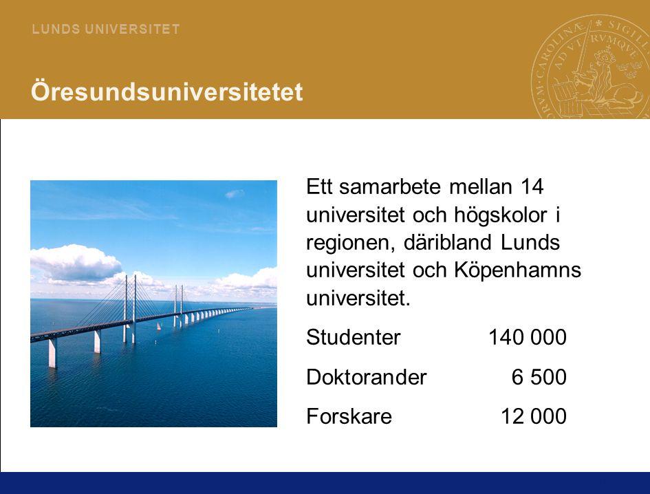 14 L U N D S U N I V E R S I T E T Öresundsuniversitetet Ett samarbete mellan 14 universitet och högskolor i regionen, däribland Lunds universitet och Köpenhamns universitet.