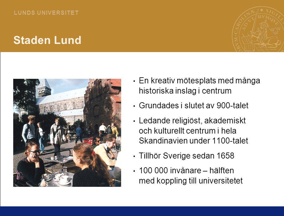 17 L U N D S U N I V E R S I T E T Staden Lund En kreativ mötesplats med många historiska inslag i centrum Grundades i slutet av 900-talet Ledande religiöst, akademiskt och kulturellt centrum i hela Skandinavien under 1100-talet Tillhör Sverige sedan 1658 100 000 invånare – hälften med koppling till universitetet