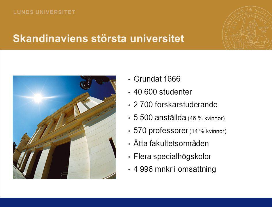 2 L U N D S U N I V E R S I T E T Skandinaviens största universitet Grundat 1666 40 600 studenter 2 700 forskarstuderande 5 500 anställda (46 % kvinnor) 570 professorer (14 % kvinnor) Åtta fakultetsområden Flera specialhögskolor 4 996 mnkr i omsättning