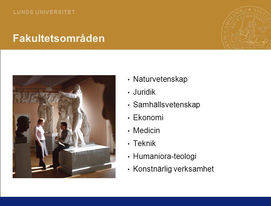 4 L U N D S U N I V E R S I T E T Fakultetsområden Naturvetenskap Juridik Samhällsvetenskap Ekonomi Medicin Teknik Humaniora-teologi Konstnärlig verksamhet