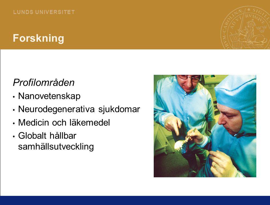 6 L U N D S U N I V E R S I T E T Forskning Profilområden Nanovetenskap Neurodegenerativa sjukdomar Medicin och läkemedel Globalt hållbar samhällsutveckling
