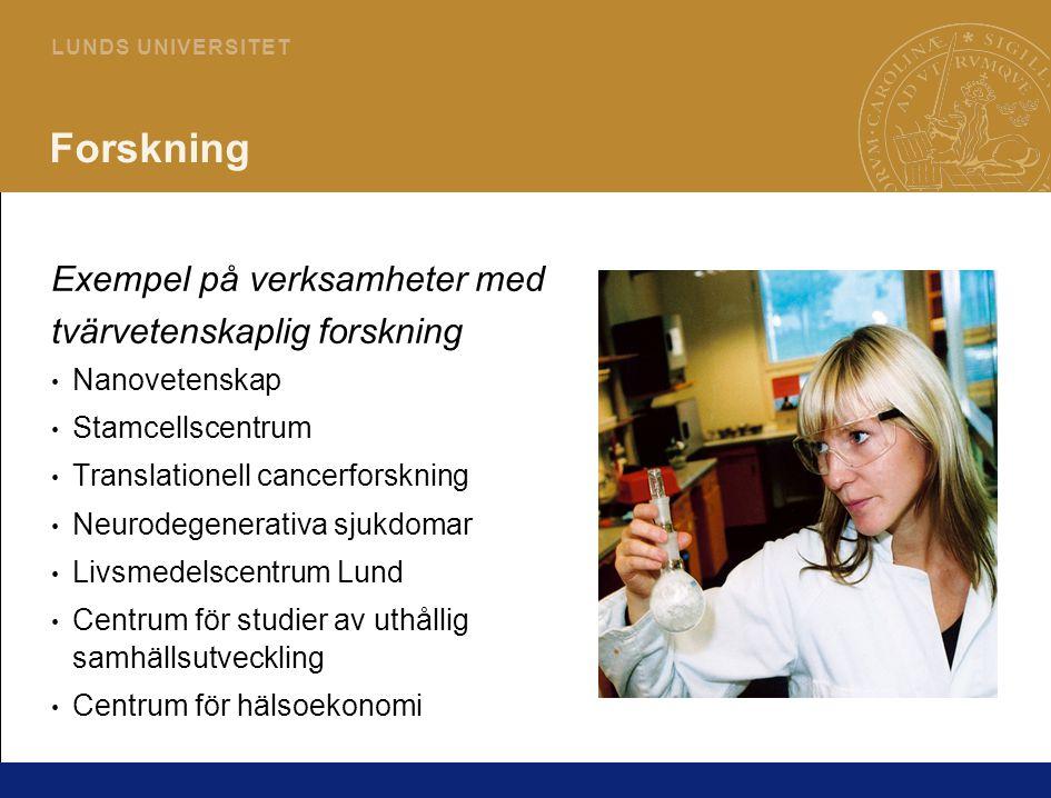 7 L U N D S U N I V E R S I T E T Forskning Exempel på verksamheter med tvärvetenskaplig forskning Nanovetenskap Stamcellscentrum Translationell cancerforskning Neurodegenerativa sjukdomar Livsmedelscentrum Lund Centrum för studier av uthållig samhällsutveckling Centrum för hälsoekonomi