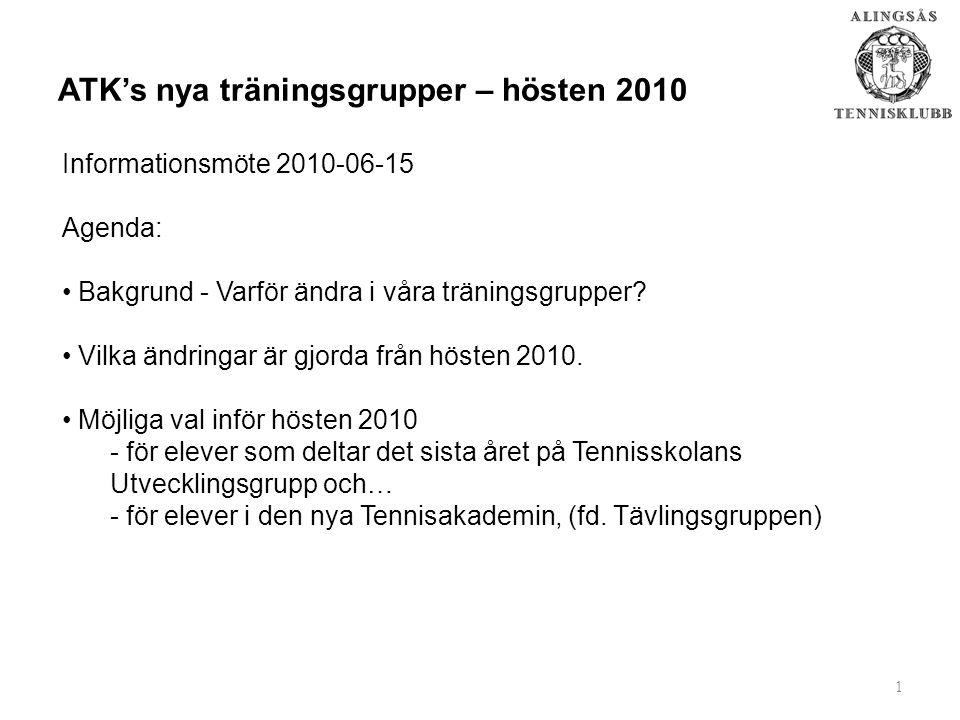 1 ATK's nya träningsgrupper – hösten 2010 Informationsmöte 2010-06-15 Agenda: Bakgrund - Varför ändra i våra träningsgrupper.