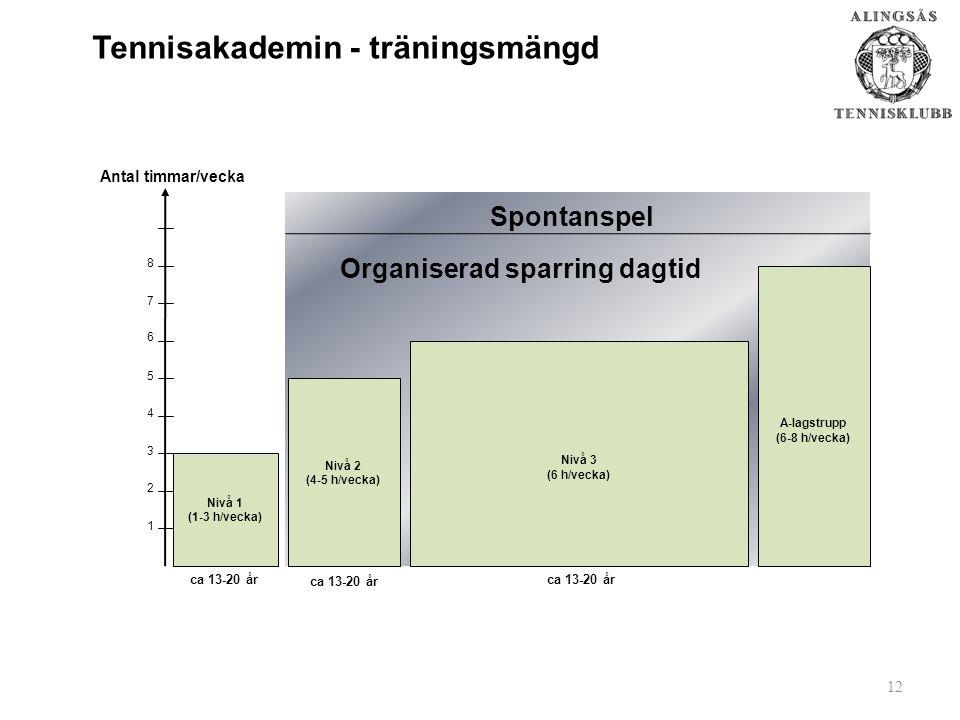 Tennisakademin - träningsmängd Nivå 3 (6 h/vecka) Nivå 2 (4-5 h/vecka) Antal timmar/vecka ca 13-20 år Organiserad sparring dagtid 1 3 6 5 4 2 8 7 Nivå 1 (1-3 h/vecka) A-lagstrupp (6-8 h/vecka) ca 13-20 år 12 ca 13-20 år Spontanspel