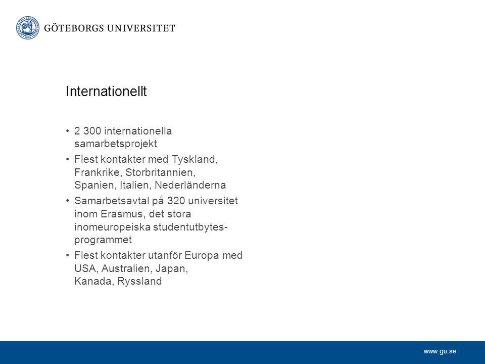 www.gu.se 2 300 internationella samarbetsprojekt Flest kontakter med Tyskland, Frankrike, Storbritannien, Spanien, Italien, Nederländerna Samarbetsavtal på 320 universitet inom Erasmus, det stora inomeuropeiska studentutbytes- programmet Flest kontakter utanför Europa med USA, Australien, Japan, Kanada, Ryssland Internationellt
