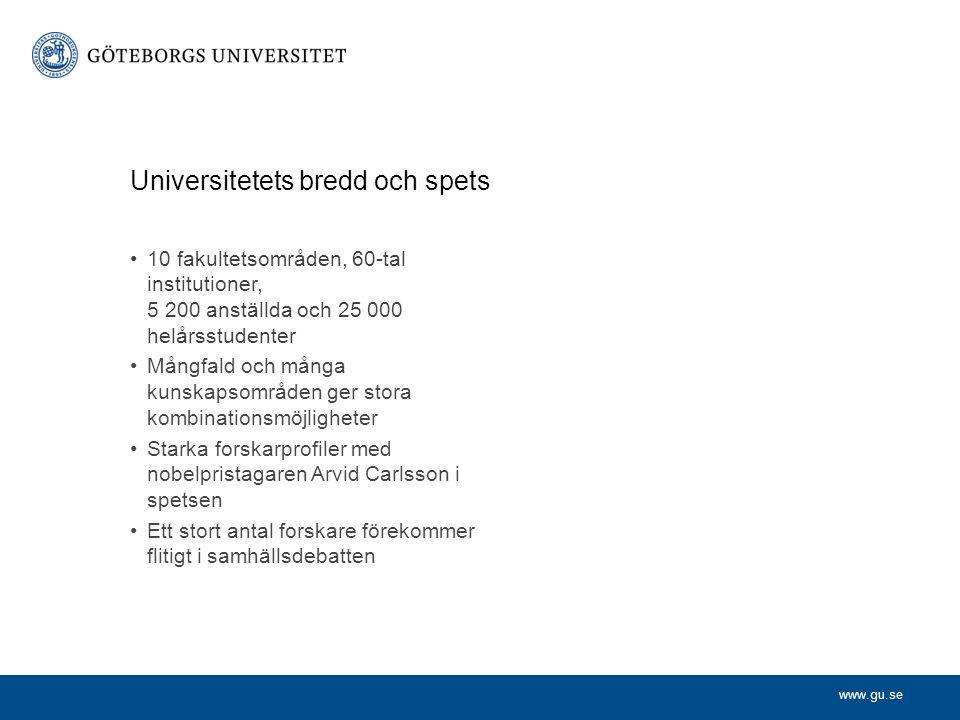 www.gu.se Grundutbildning 50 000 studenter 24 910 helårsstudenter 20 202 helårsprestationer 117 program 3 000 kurser 4 993 avlagda examina 2008 2015-03-28Institution enhet avdelning | Namn