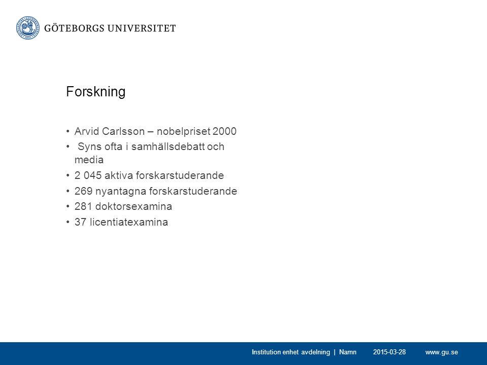 www.gu.se Forskning Arvid Carlsson – nobelpriset 2000 Syns ofta i samhällsdebatt och media 2 045 aktiva forskarstuderande 269 nyantagna forskarstuderande 281 doktorsexamina 37 licentiatexamina 2015-03-28Institution enhet avdelning | Namn