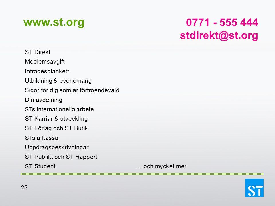 25 www.st.org ST Direkt Medlemsavgift Inträdesblankett Utbildning & evenemang Sidor för dig som är förtroendevald Din avdelning STs internationella ar