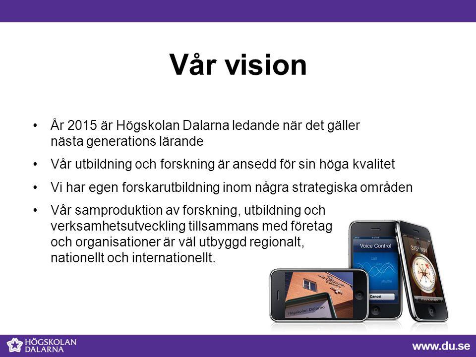 Vår vision År 2015 är Högskolan Dalarna ledande när det gäller nästa generations lärande Vår utbildning och forskning är ansedd för sin höga kvalitet