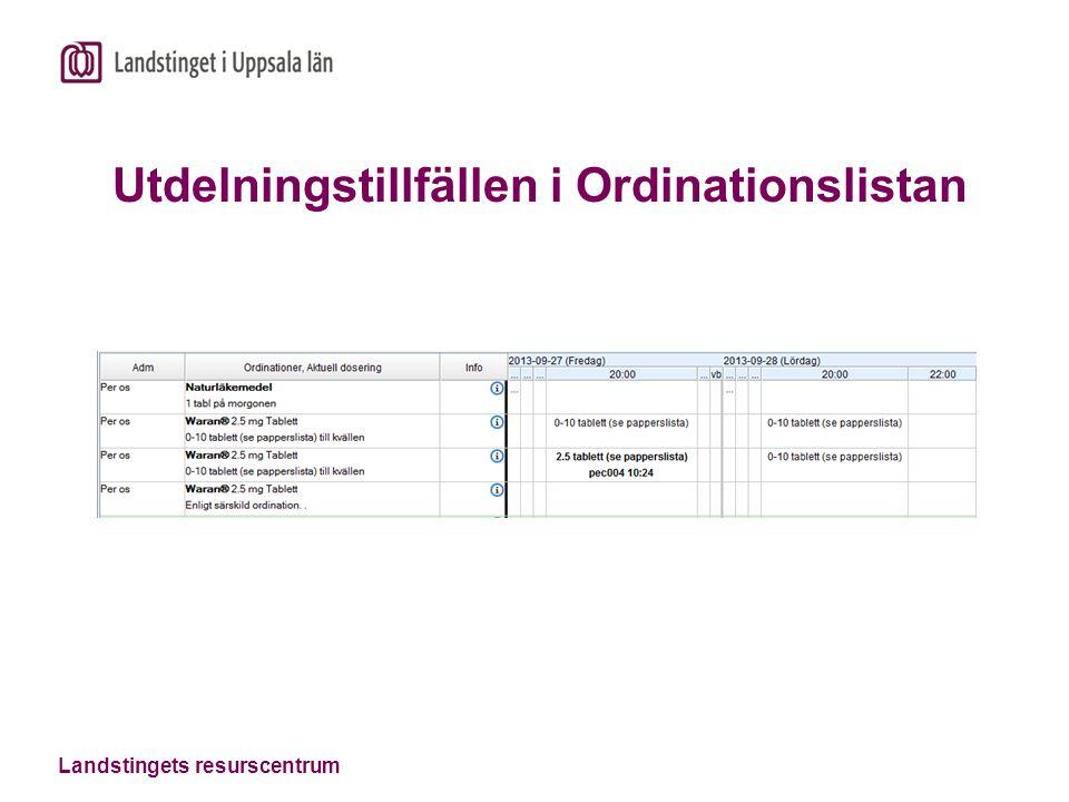 Landstingets resurscentrum Utdelningstillfällen i Ordinationslistan