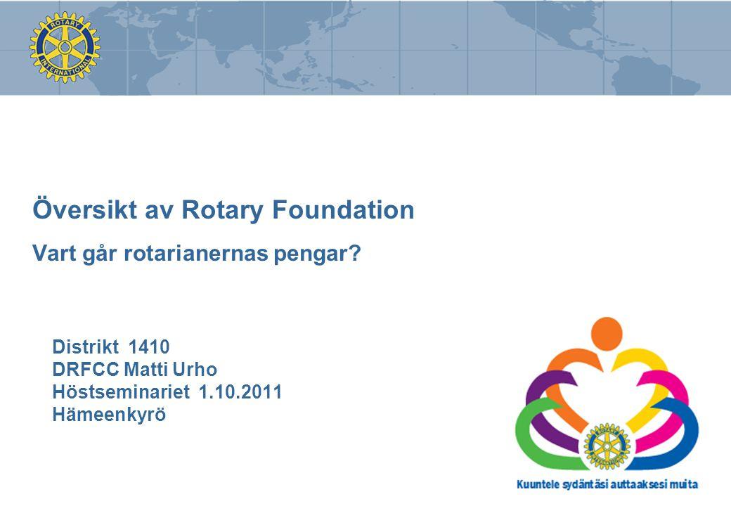 Översikt av Rotary Foundation Vart går rotarianernas pengar? Distrikt 1410 DRFCC Matti Urho Höstseminariet 1.10.2011 Hämeenkyrö