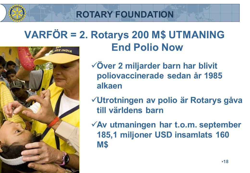 ROTARY FOUNDATION VARFÖR = 2. Rotarys 200 M$ UTMANING End Polio Now Över 2 miljarder barn har blivit poliovaccinerade sedan år 1985 alkaen Över 2 milj
