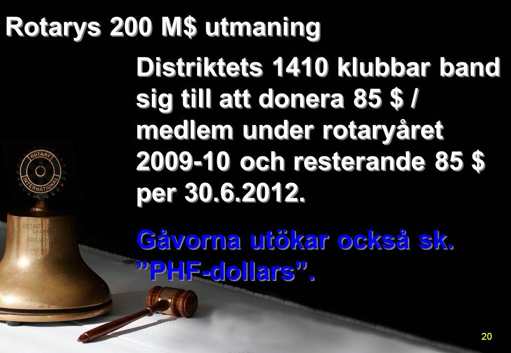 """Distriktets 1410 klubbar band sig till att donera 85 $ / medlem under rotaryåret 2009-10 och resterande 85 $ per 30.6.2012. Gåvorna utökar också sk. """""""