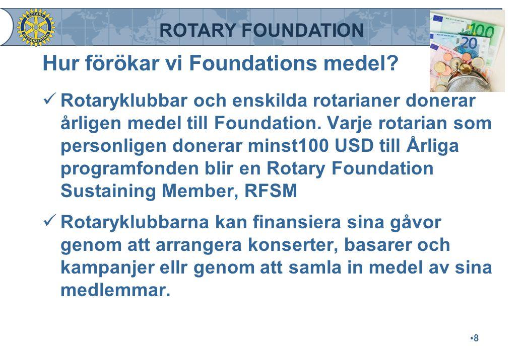 ROTARY FOUNDATION Hur förökar vi Foundations medel? Rotaryklubbar och enskilda rotarianer donerar årligen medel till Foundation. Varje rotarian som pe