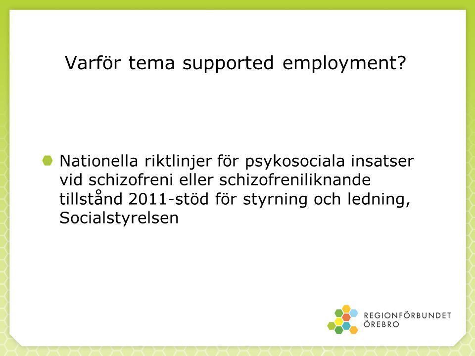 Varför tema supported employment? Nationella riktlinjer för psykosociala insatser vid schizofreni eller schizofreniliknande tillstånd 2011-stöd för st