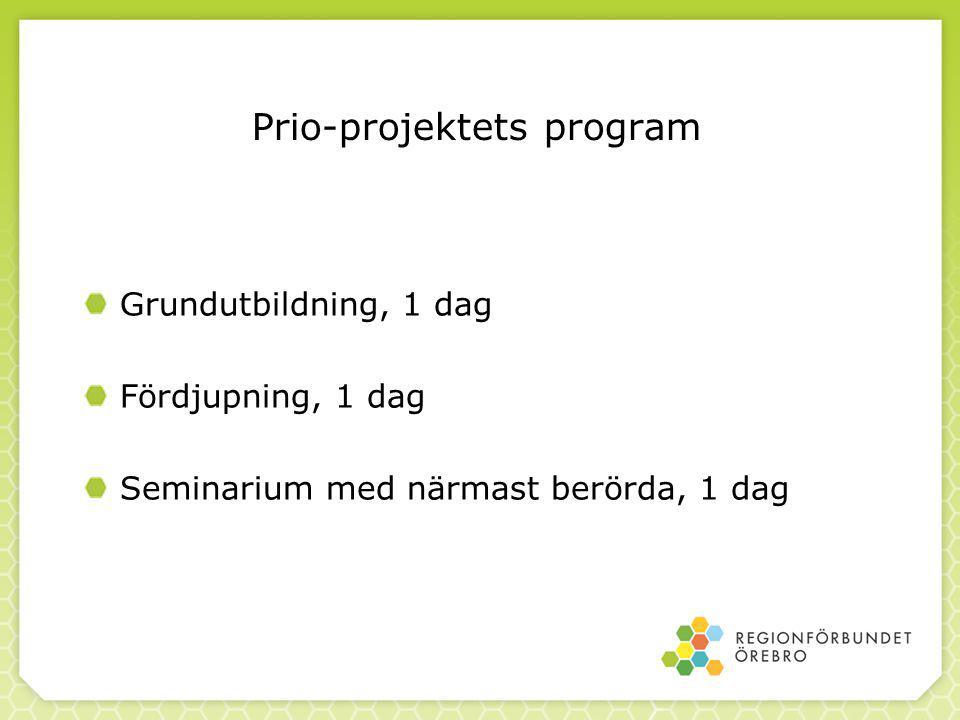 Prio-projektets program Grundutbildning, 1 dag Fördjupning, 1 dag Seminarium med närmast berörda, 1 dag