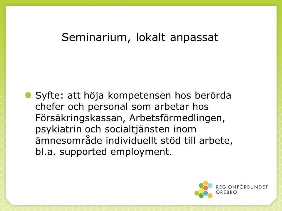 Seminarium, lokalt anpassat Syfte: att höja kompetensen hos berörda chefer och personal som arbetar hos Försäkringskassan, Arbetsförmedlingen, psykiat