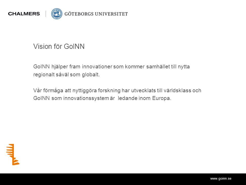 www.goinn.se Vision för GoINN GoINN hjälper fram innovationer som kommer samhället till nytta regionalt såväl som globalt.