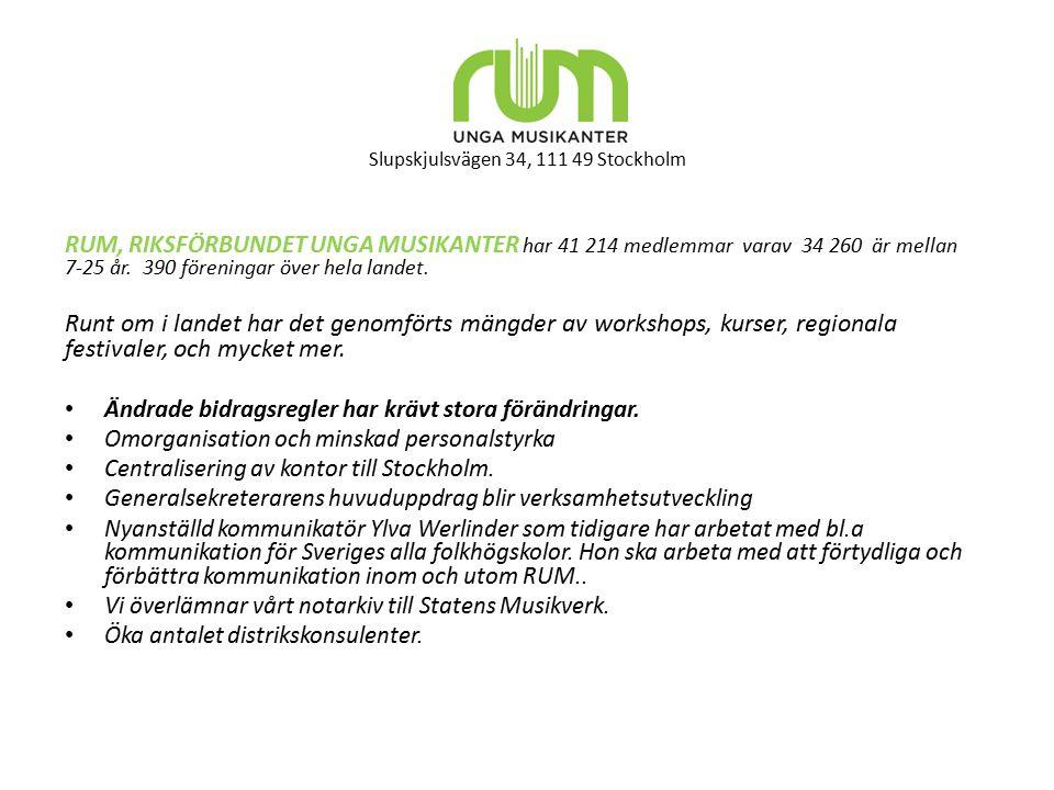 Slupskjulsvägen 34, 111 49 Stockholm RUM, RIKSFÖRBUNDET UNGA MUSIKANTER har 41 214 medlemmar varav 34 260 är mellan 7-25 år. 390 föreningar över hela