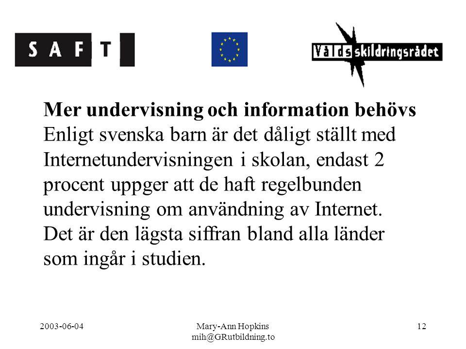 2003-06-04Mary-Ann Hopkins mih@GRutbildning.to 12 Mer undervisning och information behövs Enligt svenska barn är det dåligt ställt med Internetundervisningen i skolan, endast 2 procent uppger att de haft regelbunden undervisning om användning av Internet.